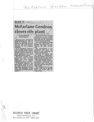 McFarlane Gendron closes city plant
