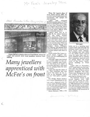 Many jewellers apprenticed with McFee's on Front