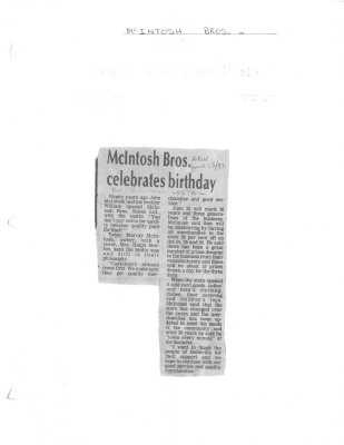 McIntosh Bros. celebrates birthday