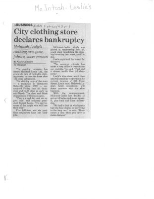 City clothing store declares bankruptcy