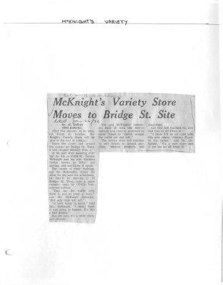 McKnight's Variety Store Moves to Bridge St. Site
