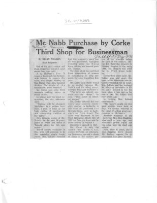 McNabb Purchase by Corke Third Shop For Businessman