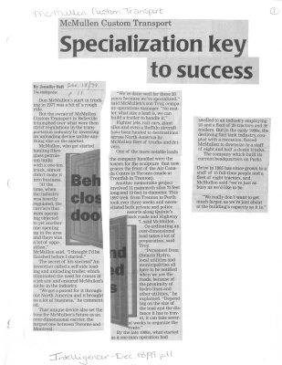 Specialization key to success