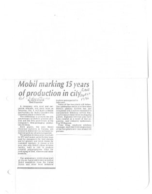 Mobil marking 15 years of production in city