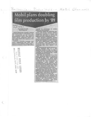 Mobil plans doubling film production by '89