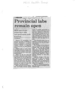 Provincial labs remain open