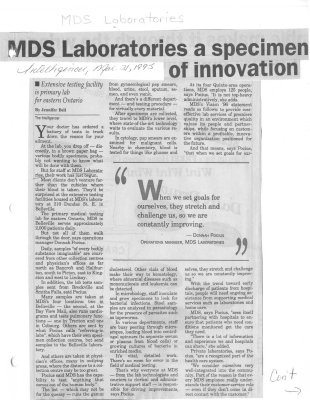 MDS Laboratories a specimen of innovation