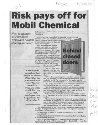 Risk pays off for Mobil Chemical