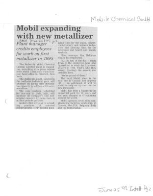 Mobil expanding with new metallizer