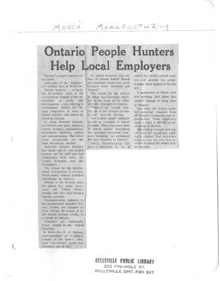 Ontario People Hunters Help Local Employers