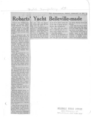 Robarts' Yacht Belleville-made