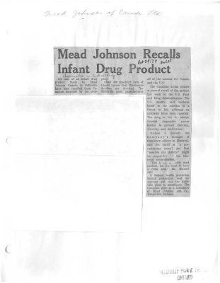 Mead Johnson Recalls Infant Drug Product