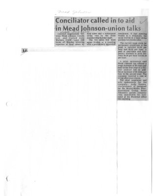 Conciliator called in to aid in Mead Johnson-union talks