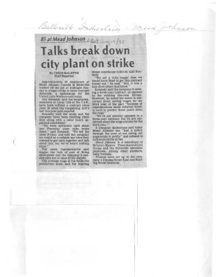 Talks break down city plant on strike
