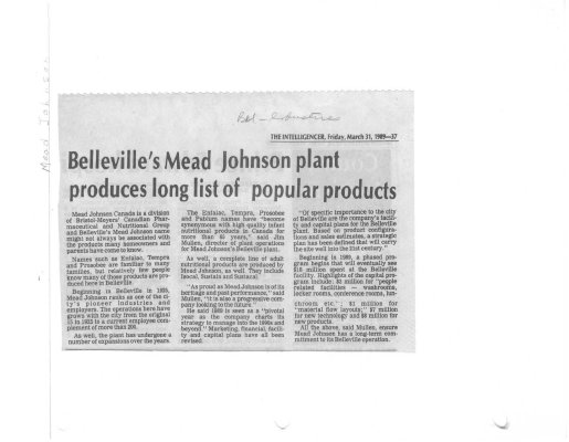 Belleville's Mead Johnson plant produces long list of popular products