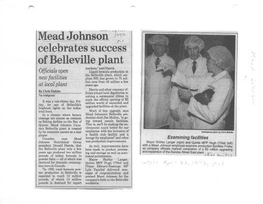 Mead Johnson celebrates success of Belleville plant