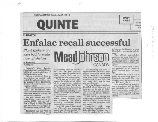 Enfalac recall successful