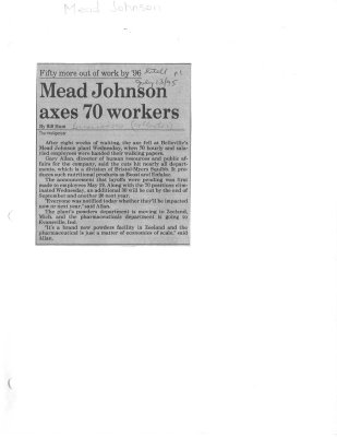 Mead Johnson axes 70 workers