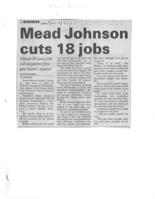 Mead Johnson cuts 18 jobs