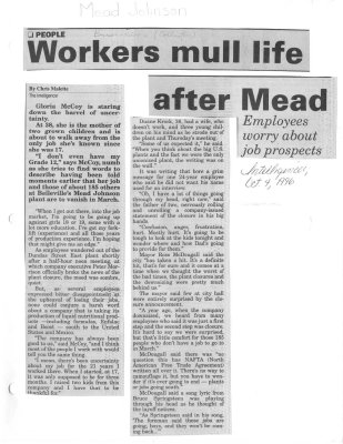 Workers mull life after Mead