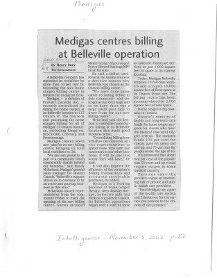Medigas centres billing at Belleville operation