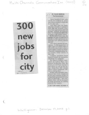 300 new jobs for city