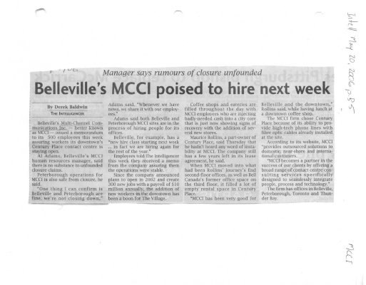 Belleville's MCCI poised to hire next week