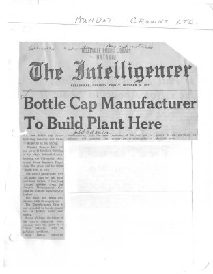 Bottle Cap Manufacturer To Build Plant Here