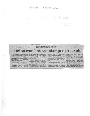 Union won't press unfair practices suit