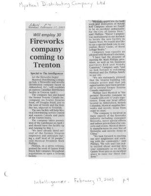 Fireworks company coming Trenton