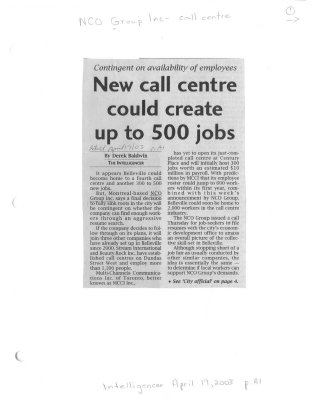 New call centre could create up to 500 jobs