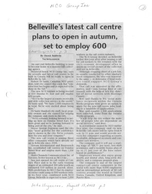 Belleville's latest call centre plans to open in autumn, set to employ 600