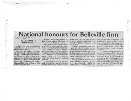National honours for Belleville firm
