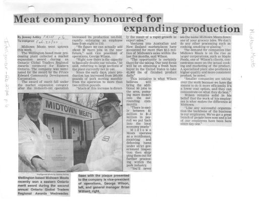 Meat company honoured for expanding production