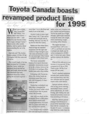 Toyota Canada boasts revamped product line for 1995