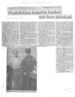 Prohibition benefits barber, not beer drinkers