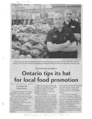 Ontario tips its hat for local food promotion