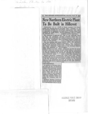 New Northern Electric Plant to Be Built in Hillcrest