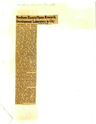 Northern Electric Opens Research Development Laboratory in City