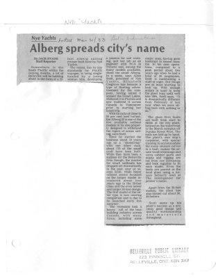 Alberg spreads city's name