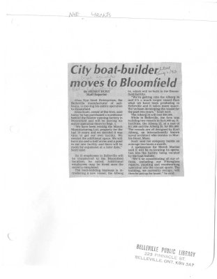 City boat-builder moves to Bloomfield