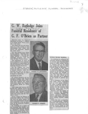 G. W. Rutledge Joins Funeral residence of G. F. O'Brien as Partner
