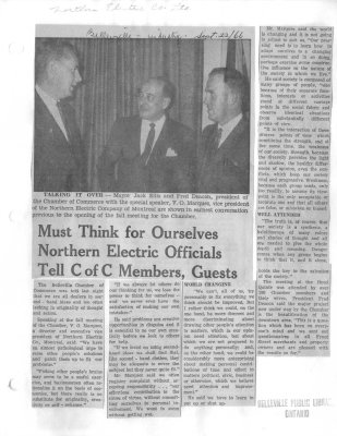 Must Think for Ourselves Northern Electric Officials Tell C of C Members, Guests