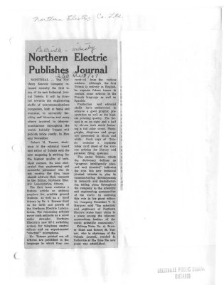 Norther Electric Publishes Journal