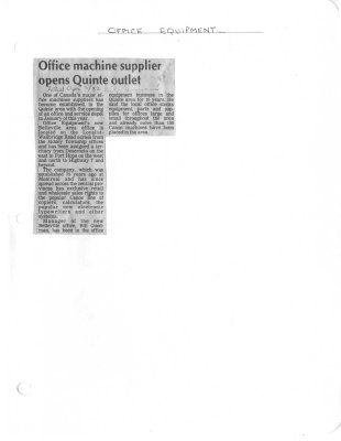 Office machine supplier open Quinte outlet