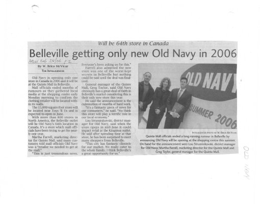 Belleville getting only new Old Navy in 2006