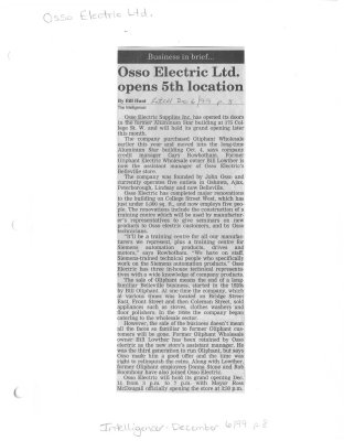 Osso Electric Ltd. opens 5th location