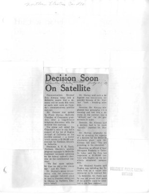 Decision Soon on Satellite
