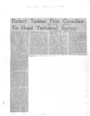 Robert Tanner First Canadian To Head Technical Society