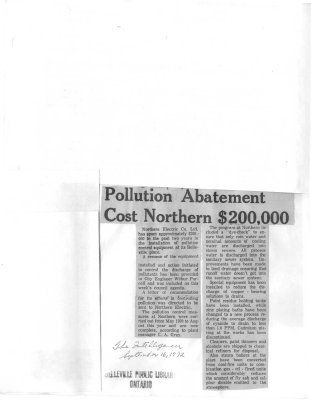 Pollution Abatement Cost Northern $200,000
